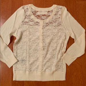 abercrombie and fitch, mesh, lace, creme cardigan